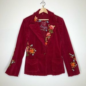 Johnny Was Floral Embroidered Red Corduroy Blazer
